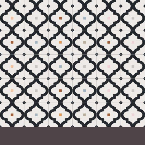 Marokkói mintás falicsempe fekete-fehér