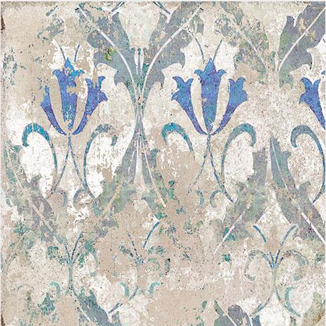 Kék virágminta barokk mintás lapon